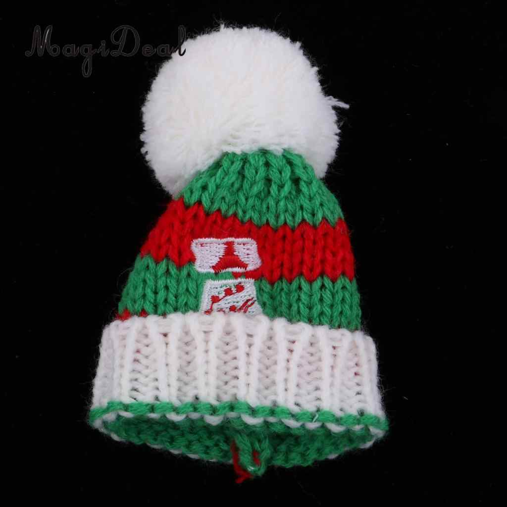 Cute Christmas Party Clothing Accessory - Knitted Woolen Beanie Hat Ski Cap For   for Kurhn Girl Dolls Xmas Dress-up