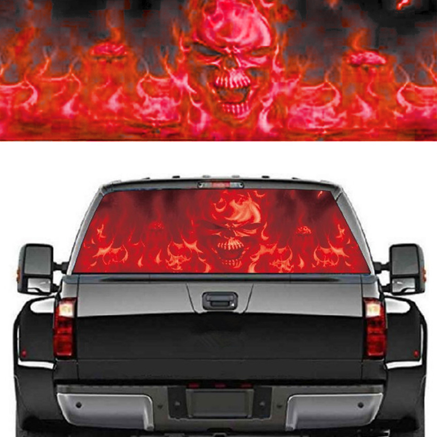 Pickup Rear Window Decal Tint Sticker Cemetery Graphic for Ford Dodge 22*65 Inch