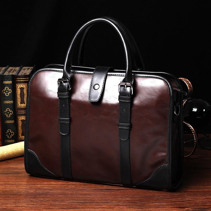Korean-Style Fashion Crazy Horse PU Leather Men's Bag New Brand Designer Men's Handbag Vintage Cool Men Business Briefcase