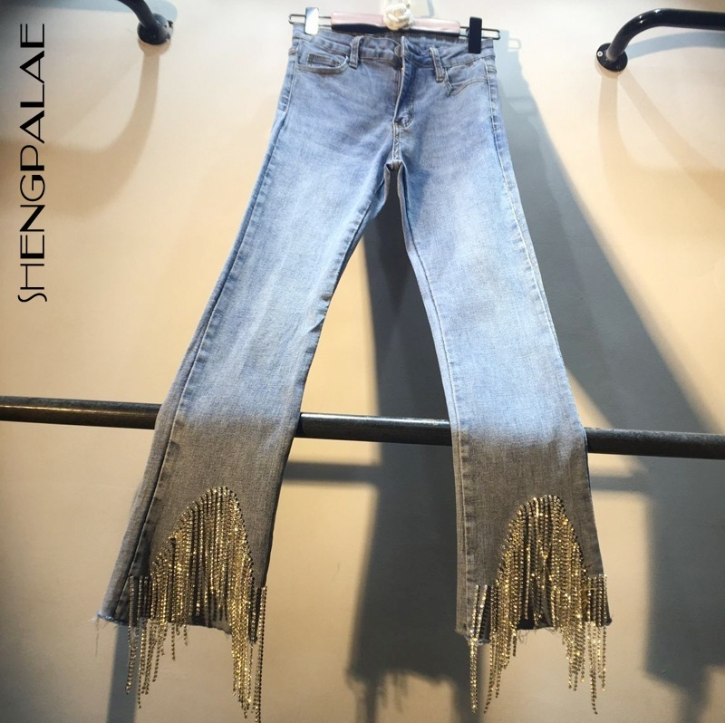 SHENGPALAE European Style Tassels Trouser Diamond Beads High Waist Jeans Summer Spring Women Denim Ankle Length