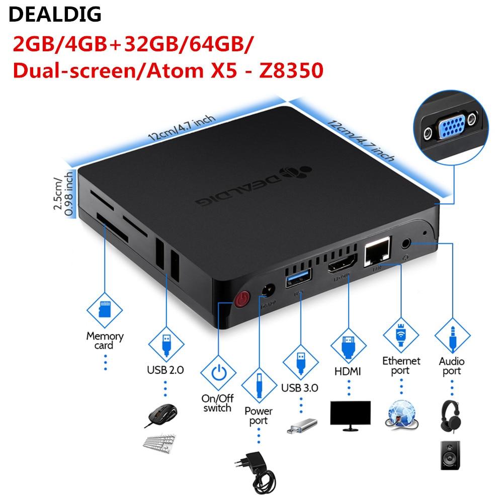 US $84 99 |DEALDIG AbleD3 Mini PC Intel Atom X5 Z8350 Dual screen Display  4GB RAM 64GB ROM 1000Mbps 2 4GHz 5 8GHz WIFI BT4 0 Mini Desktop-in Mini PC