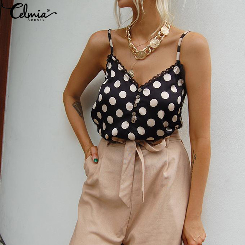 Celmia 2019 Summer Dot Print Camis Women Shirts Sexy Sleeveless V Neck   Tank     Top   Buttons Casual Strap Lace Vests Plus Size Tees