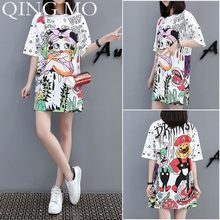 QING MO Cartoon Print Dress Women Long T Shirt Summer Half Sleeve Mini Dress Women White Tee Shirt Tops Women Casual Dress QF676(China)