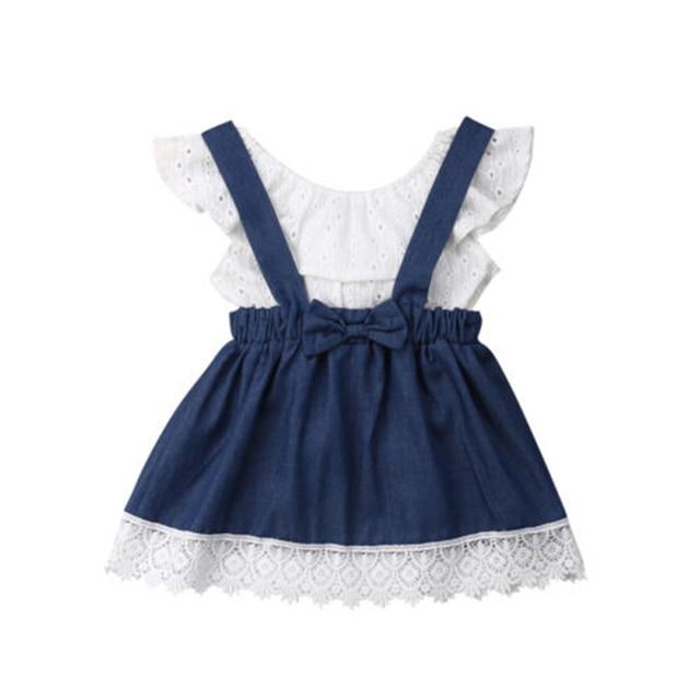 AU Newborn Toddler Baby Girl Off Shoulder Top Denim Skirt Outfits Clothes Summer Hot New Falbala Top Lace Suspender Skirt Set