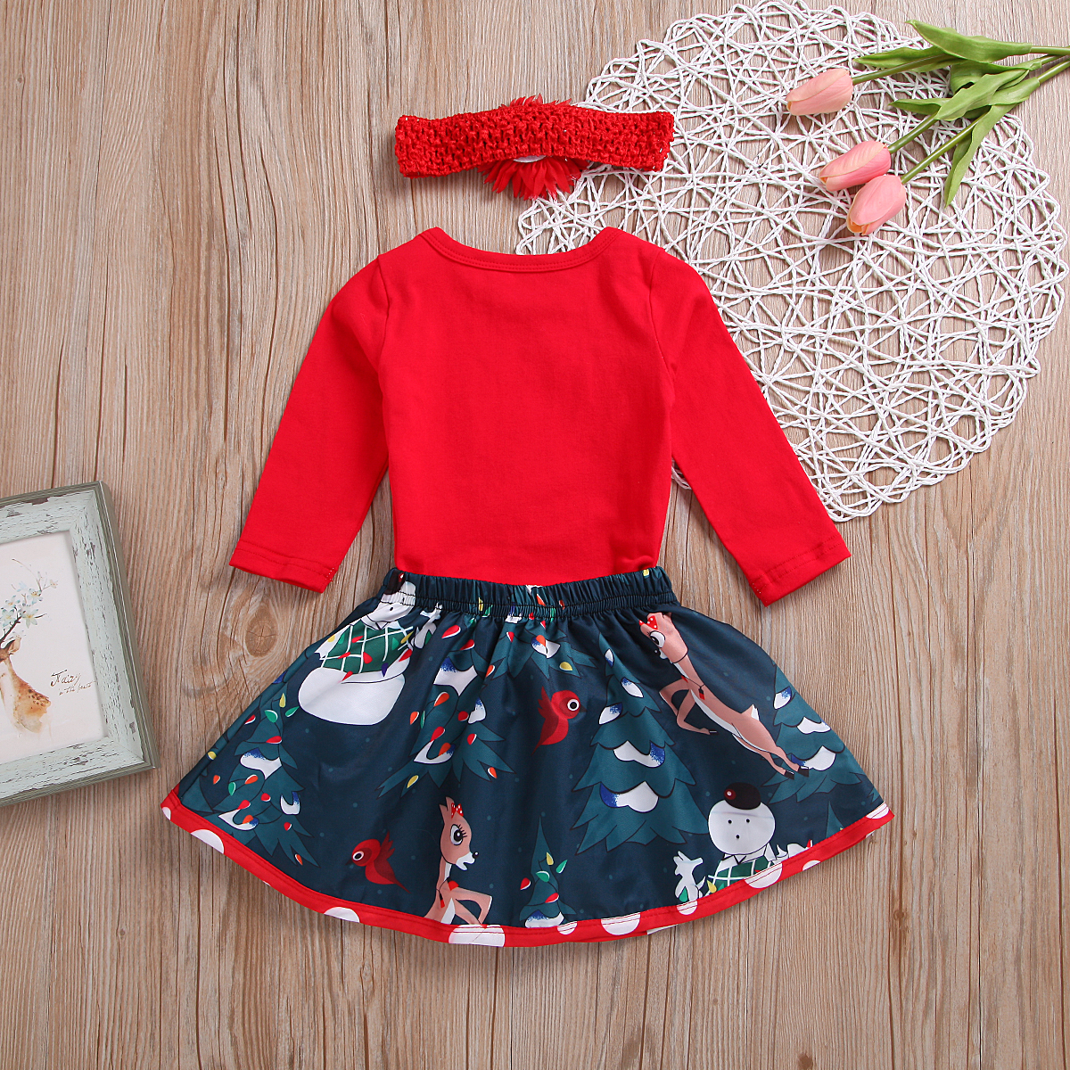 f67aed22849 3 Piece Set Newborn Baby Girl My First Christmas Clothes Set Long Sleeve Letter  Romper Snowman Deer Skirts Headband Clothing-in Clothing Sets from Mother  ...