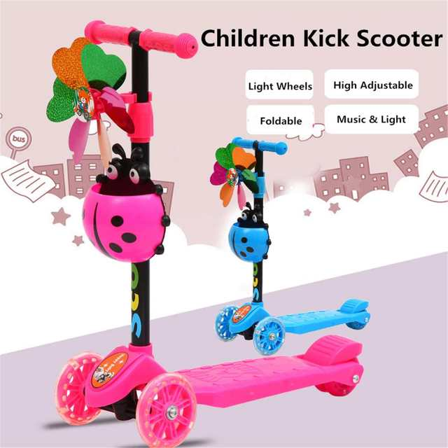 Children's Adjustable Foot Scooters LED Light Up Children Unisex Kick Scooter 4 wheel City Roller Skateboard Gifts For Kids