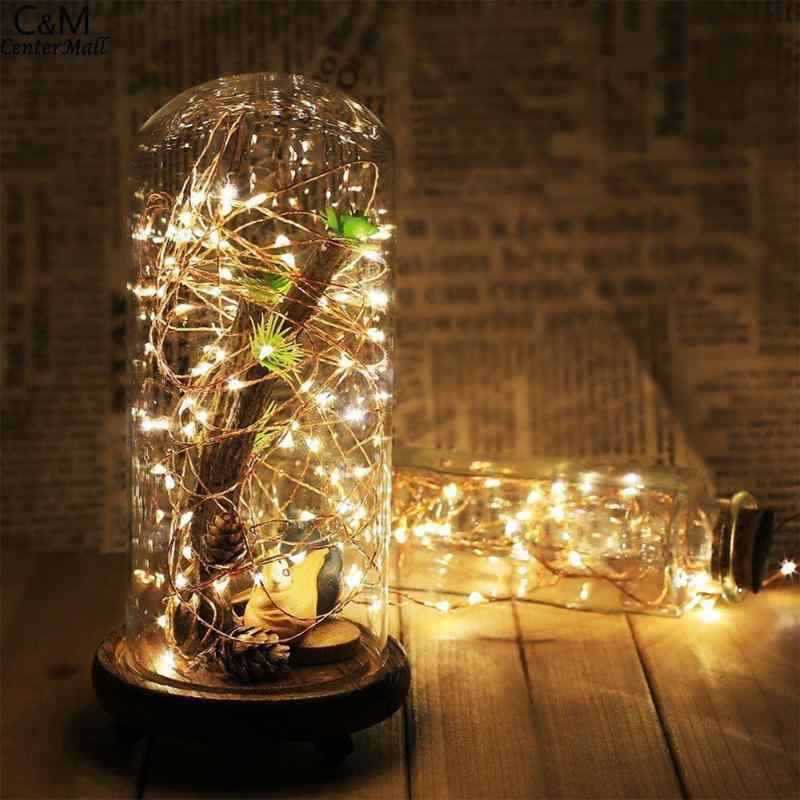 5m 50 LED Light Chain Fairy Lights Battery Silver Wire Xmas Party Lamp Decor Garlands Window Wedding Decoration AAA Battery New