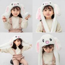 Women man boy Girls Pretty Hat Rabbit Bunny Ears Will Move The Rabbit Hat Move A