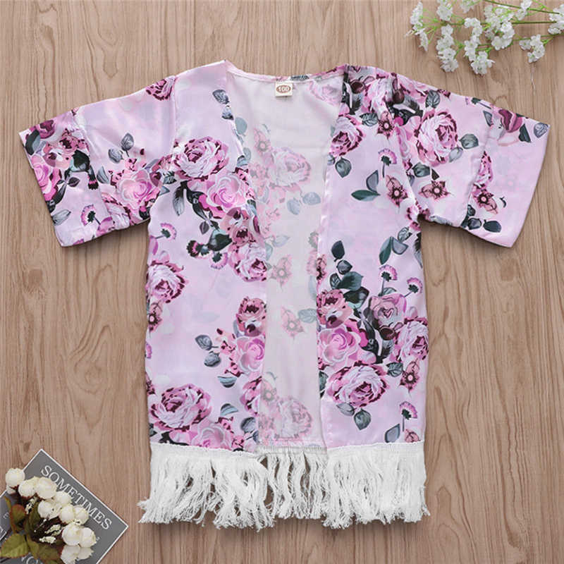 4c9d7409e5f00 ... Kids Girls Beach Wear New Floral Tassels Swim Cover Up Loose Blouse  Tops Kaftan Beach Cover ...