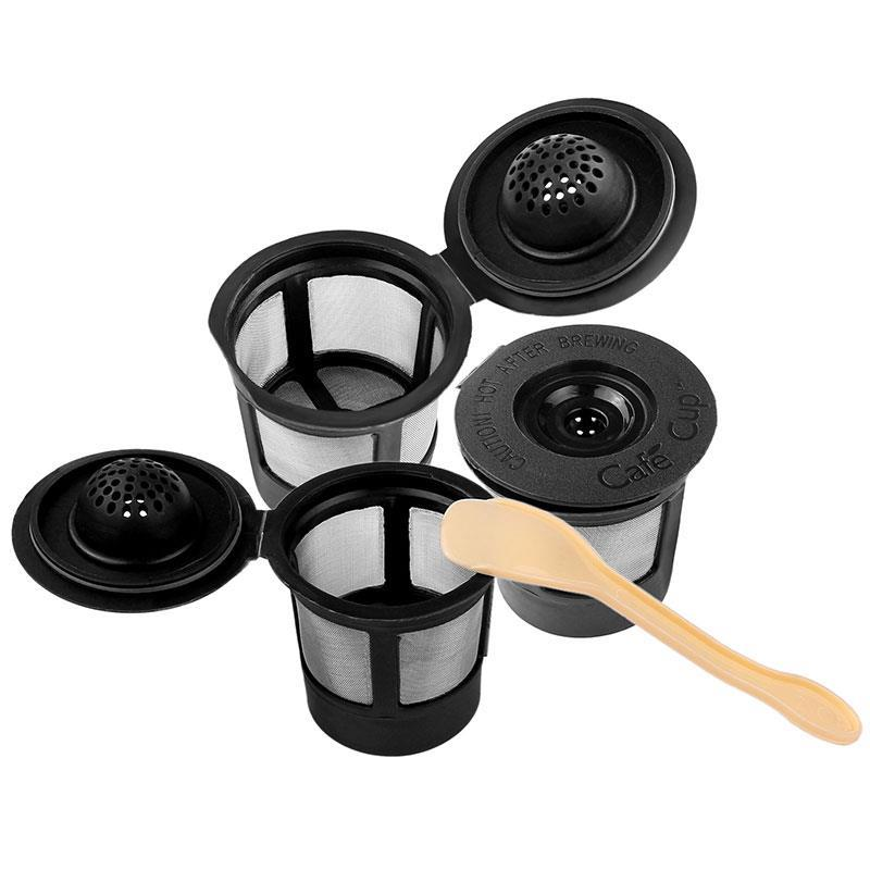 Kitchen 3Pcs Coffee&Tea Pod Filters Compatible With Keurig K Cup Coffee System Reusable Coffee Filter With A Coffee Spoon