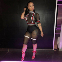 2018 Sexy Mesh ROMPERS Short JUMPSUIT WOMEN Shorts Transparent See Through Sheer Overalls Female Exotic Club Paysuits Summer JUM