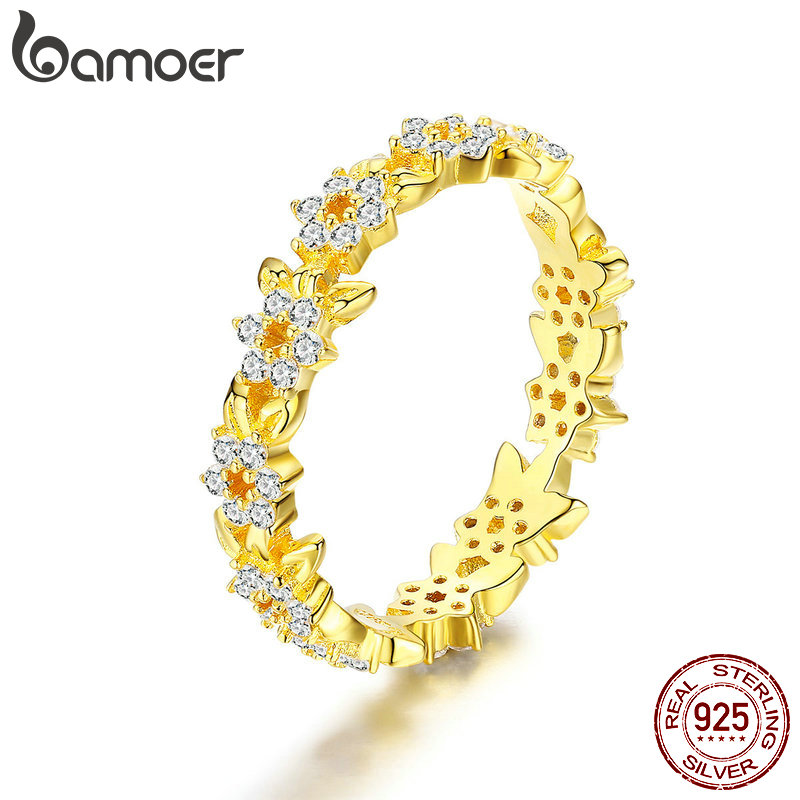 BAMOER New Collection 925 Sterling Silver Stackable Peaceful Golden Olive Leaves Women Finger Ring Wedding Jewelry BSR028BAMOER New Collection 925 Sterling Silver Stackable Peaceful Golden Olive Leaves Women Finger Ring Wedding Jewelry BSR028
