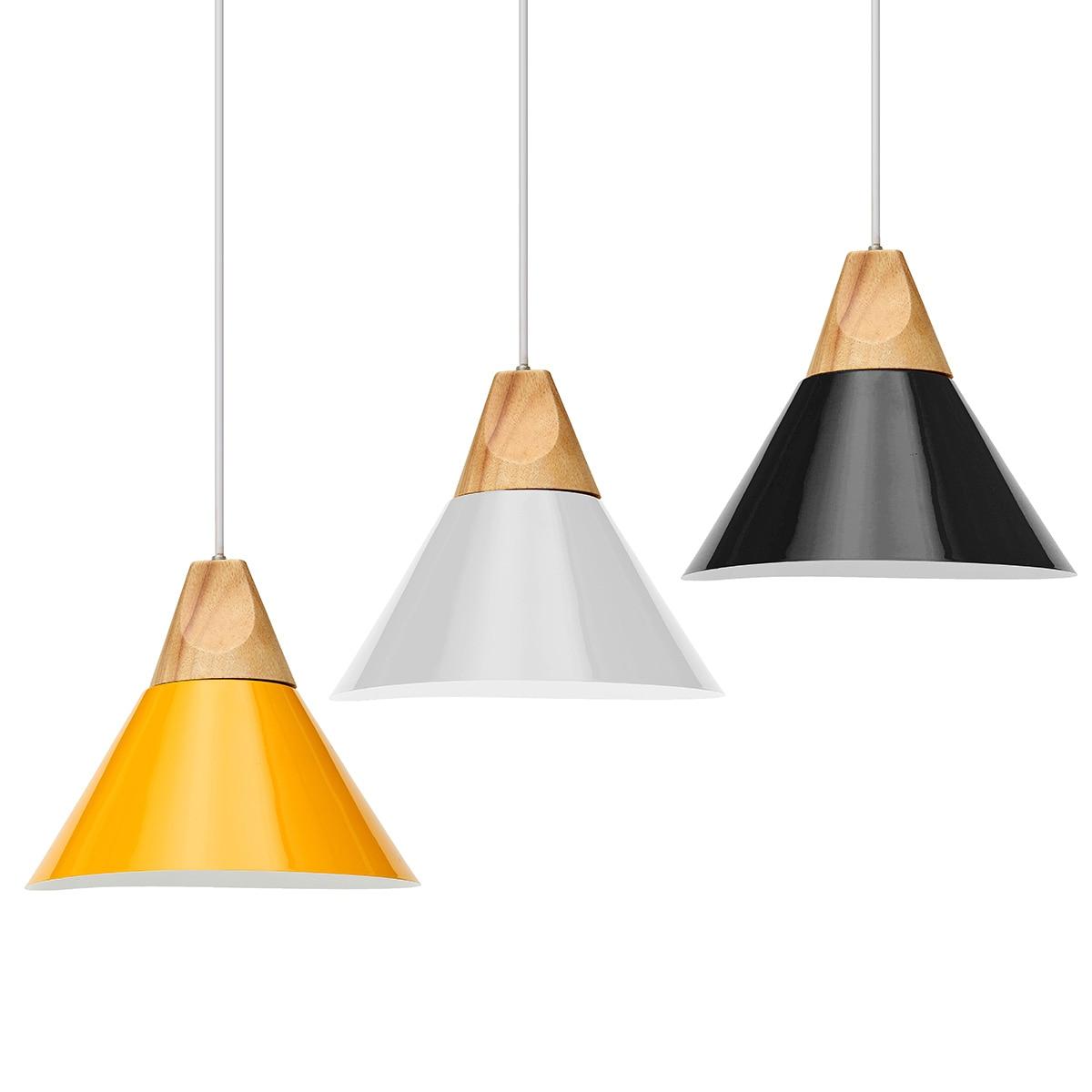 E27 Pendant Lights Led Modern for Dinning Room Wood+Aluminum Suspension Hanging Ceiling Lamp Home Lighting for Kitchen Large