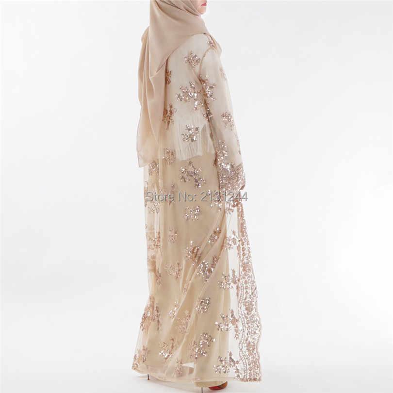 Plus Size 2018 Summer Abaya Dubai Sexy Women Long Sequined Lace Mesh Kimono  Cardigan Muslim Hijab 5f3437e02e61