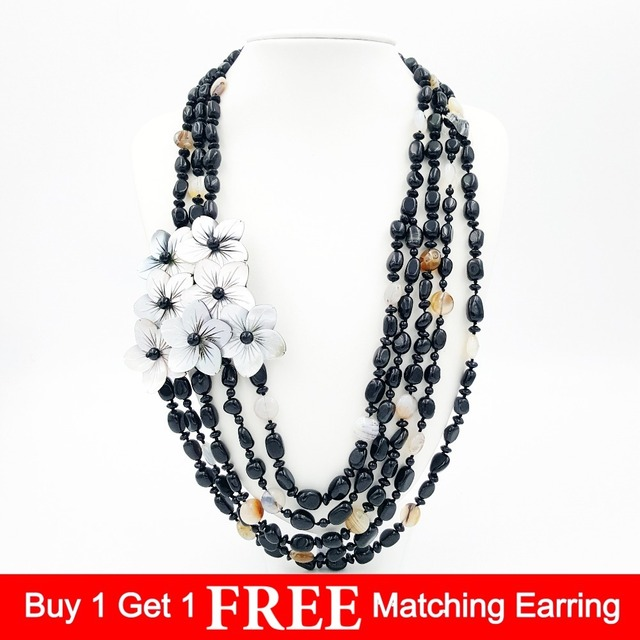 Natural Stone Black Agates Onyx beads&Tree Agates&Mother of pearl shell carving flowers Fashion Necklace 25inches