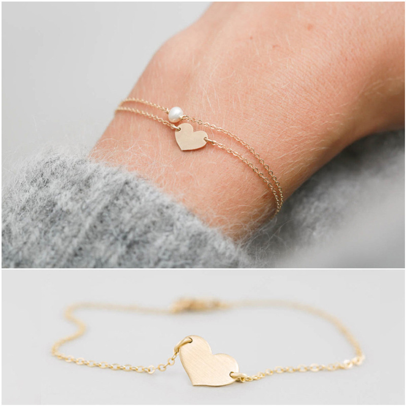 2pcs/set 2019 New Minimalsm Slim Gold Chain Heart Pearl Charm Bracelets For Lady Women's Cute Romantic Bracelets Set Jewelry