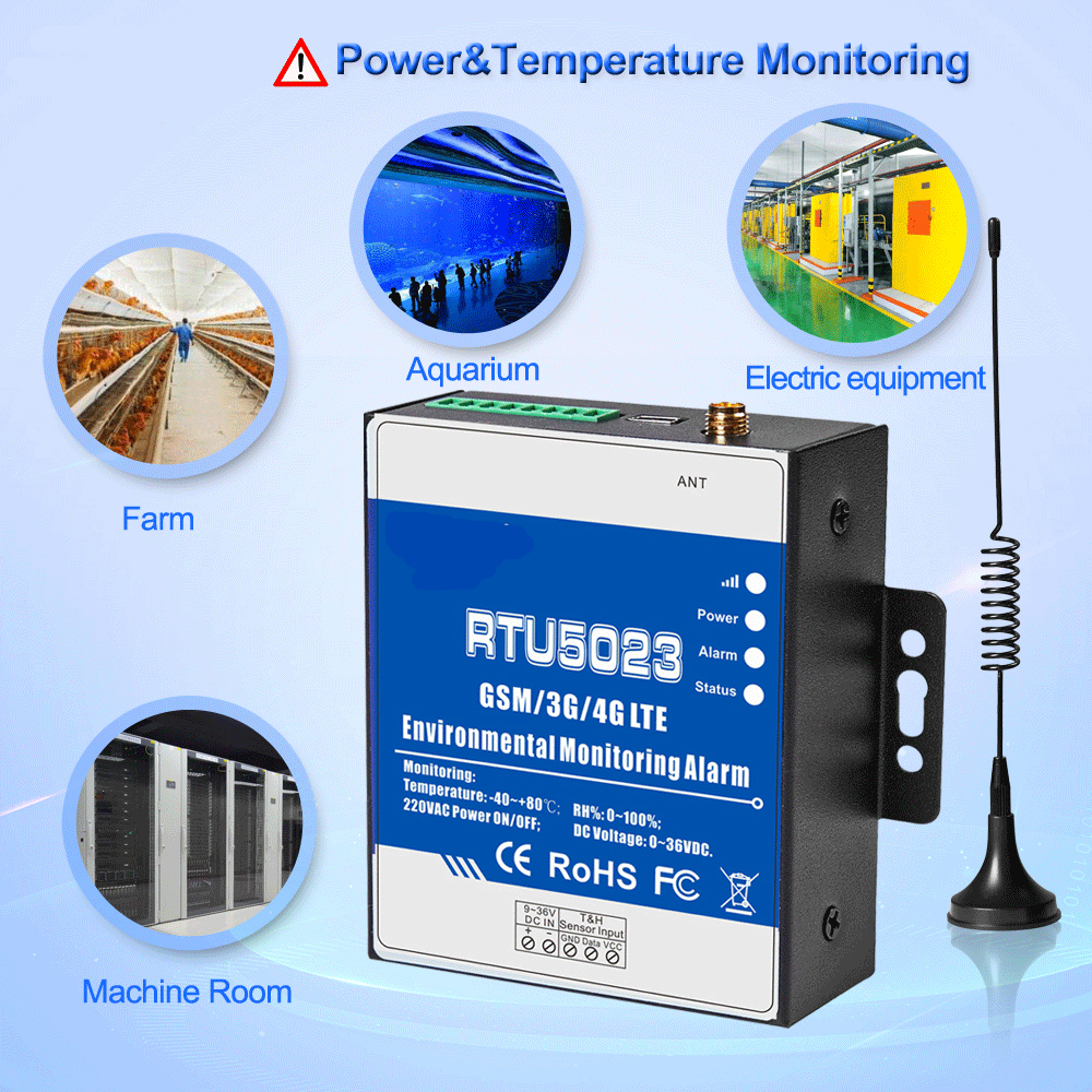 4G FDD LTE Temperature Humidity Environment Alarm Power Situation SMS Alert Remote Monitoring DC Power Timer Report APP Control