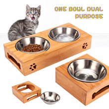 Double Single Dog Bowls for Pet Puppy Stainless Steel Food Water Bowl Bamboo Rack Feeder Pet Cats Feeding Dishes Dogs Drink Bowl(China)
