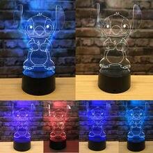 3D светодио дный LED Иллюзия мультфильм USB 7 видов цветов настольный ночник лампа спальня Детский подарок ее акриловая панель USB милый стежок мультфильм
