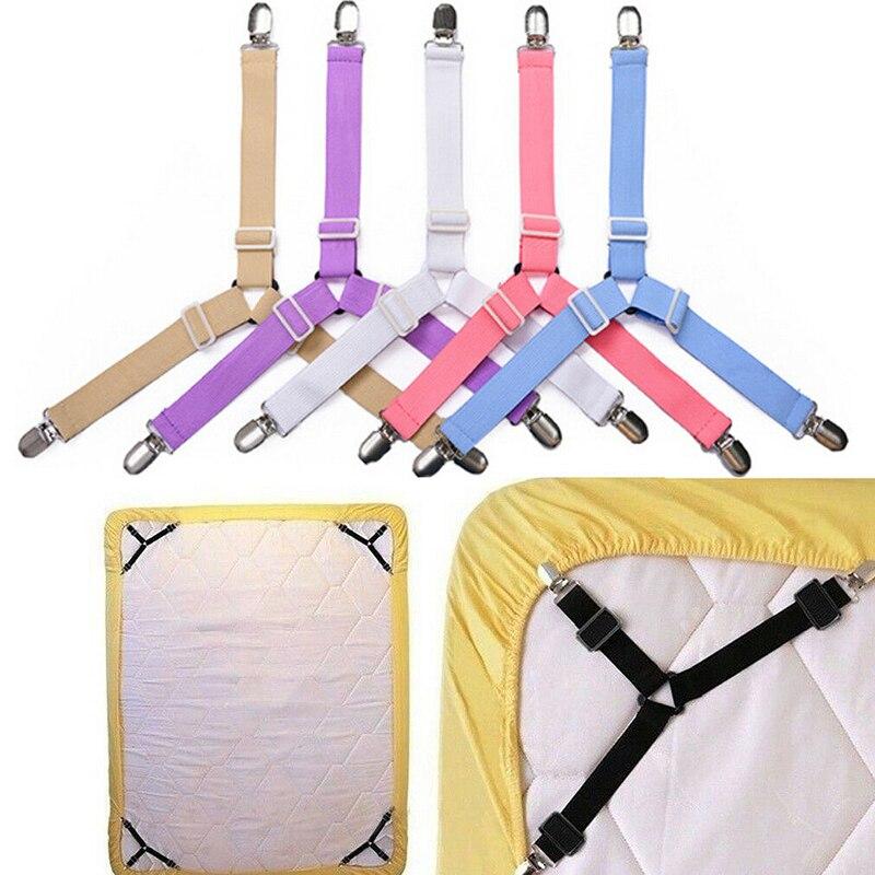 Adjustable Triangle Bed Mattress Sheet Holder Straps Clips Gripper Fastener New