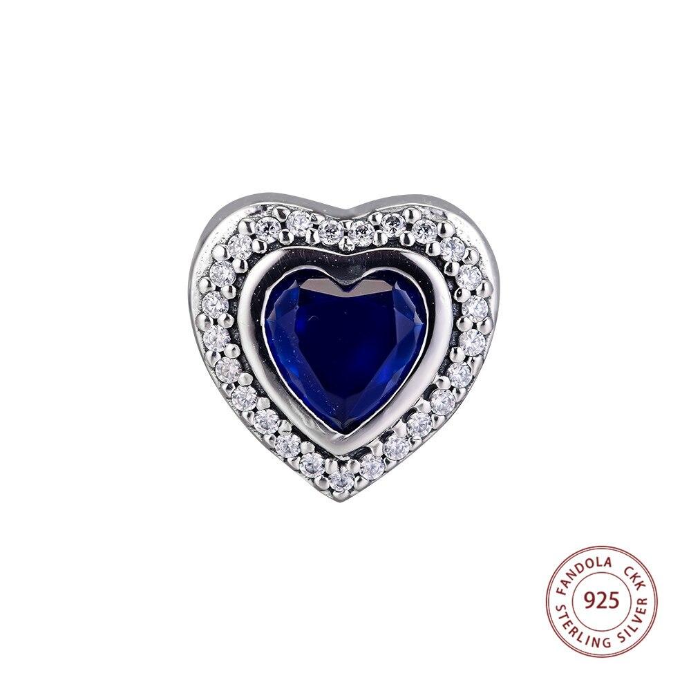 100% Wahr Funkelnden Liebe Charms 925 Sterling Silber Klar Cz & Blau Kristall Herz Perlen Für Schmuck Herstellung Passend Original Marke Armbänder Rabatte Verkauf