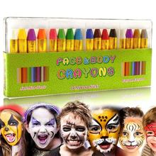 Детские цветные карандаши для лица, набор, масляные краски для тела, 90 г, более 5 лет, клоун, обычные вееры, дьявол, призрак, вечерние