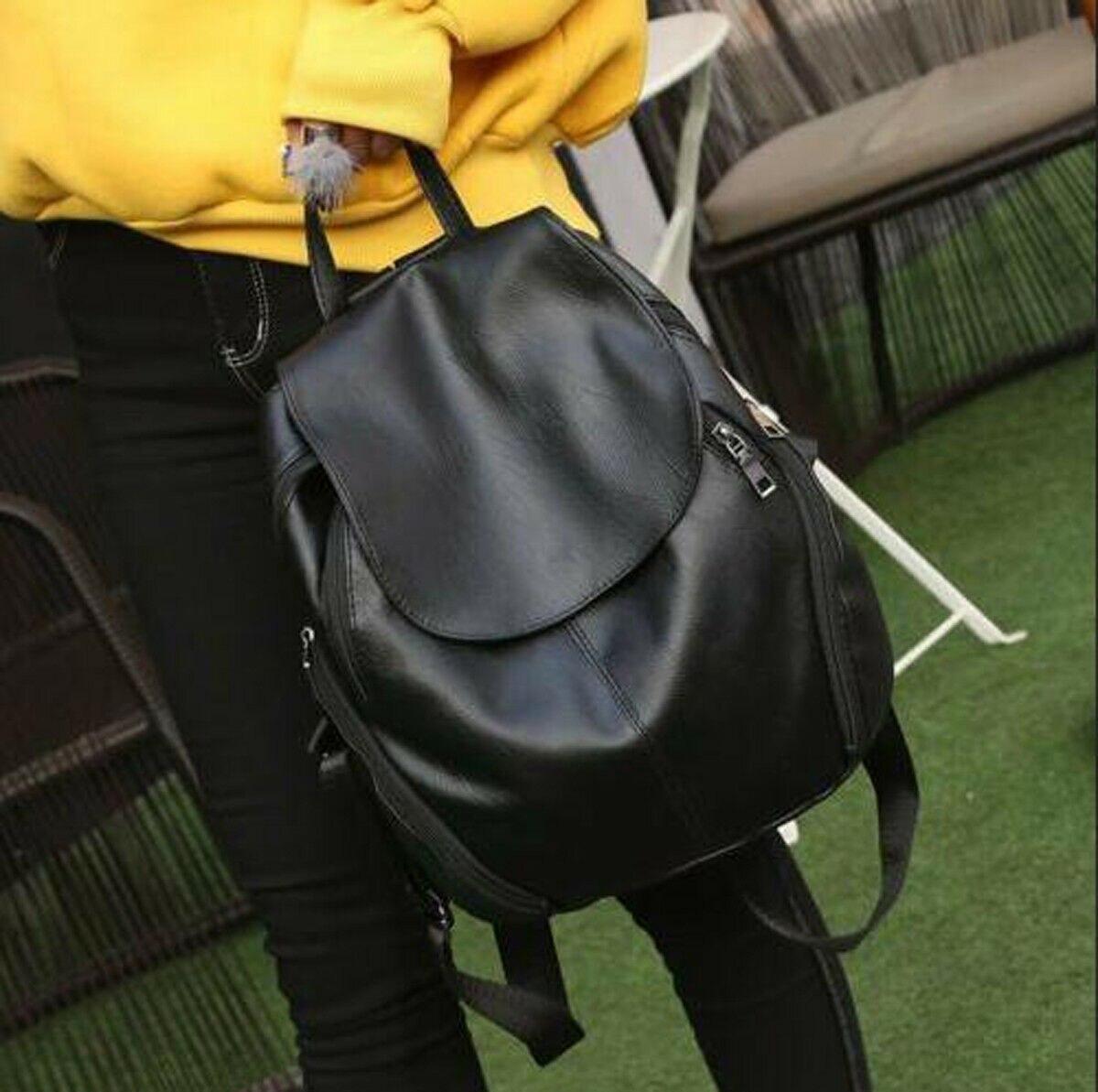 UK PU Leather Fashion Women Backpack Travel School Shoulder Bag Girls Rucksack