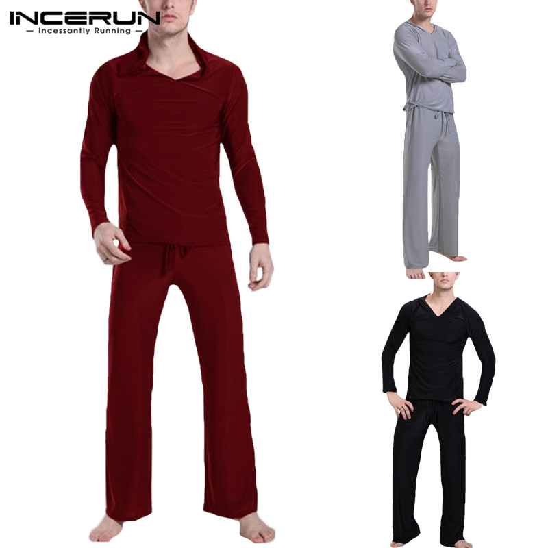 INCERUN  Pyjamas Underwear Man Pajamas Suit Men Casual Thermal Long Sleeve Tee Underpants Masculina Pajamas Suit Sleepwear Solid