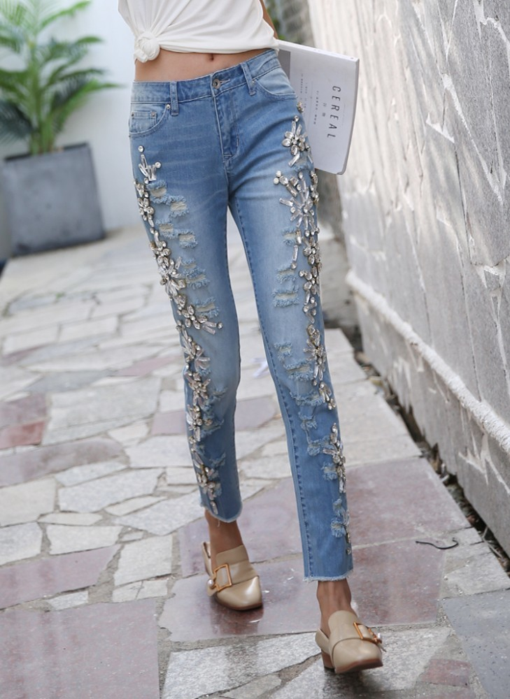 Fashion beading diamonds pencil denim pants women jeans cotton holes 2019 spring new arrivals