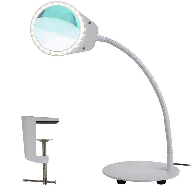 Dimmable Magnifying Glass Desk Lamp-Hands Free,Daylight Lighted Magnifier With Stand & Clamp-Adjustable Gooseneck Led Table LiDimmable Magnifying Glass Desk Lamp-Hands Free,Daylight Lighted Magnifier With Stand & Clamp-Adjustable Gooseneck Led Table Li