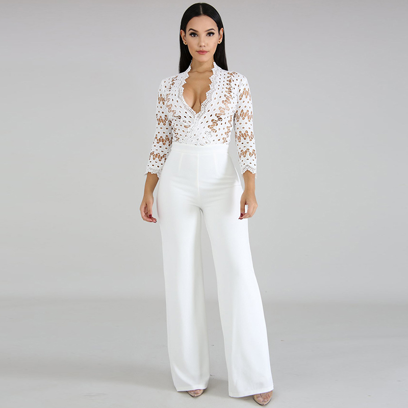 Long Sleeve Sexy Women Culotte Jumpsuit One Piece Elegant Party Evening Cocktail Wedding Wide Leg Romper Lace Hollow Out White
