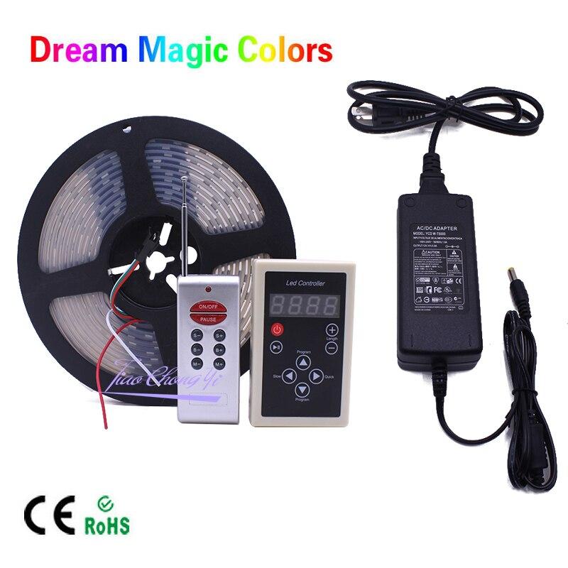DC12V 5M Chasing Dream Magic Color RGB 5050 WS2811 IC LED Strip Light +WS2811 RF Remote controller +12V 5A LED Power