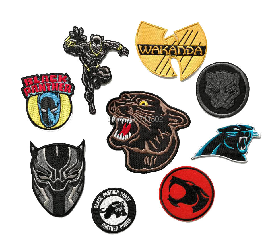 Black Panther Superhero Movie Embroidered Patch Badge Military Uniform Iron On Sew On Patch Badge
