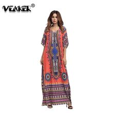 2018 Women Cotton Bat Sleeve Embroidered Printed Dress Ukraine Robe Dress  Loose Summer Patchwork Retro National 21cf121d7668