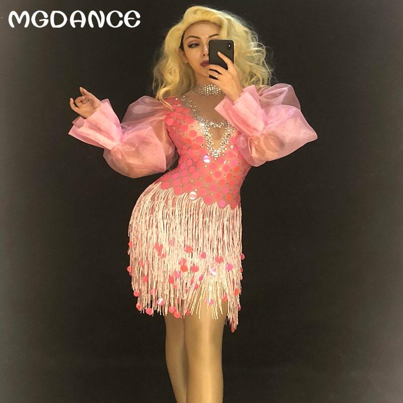 Femmes Sexy paillettes rose Net fil gland robe pleine pétillante Paillette discothèque fête d'anniversaire scène porter Bling danse Costumes