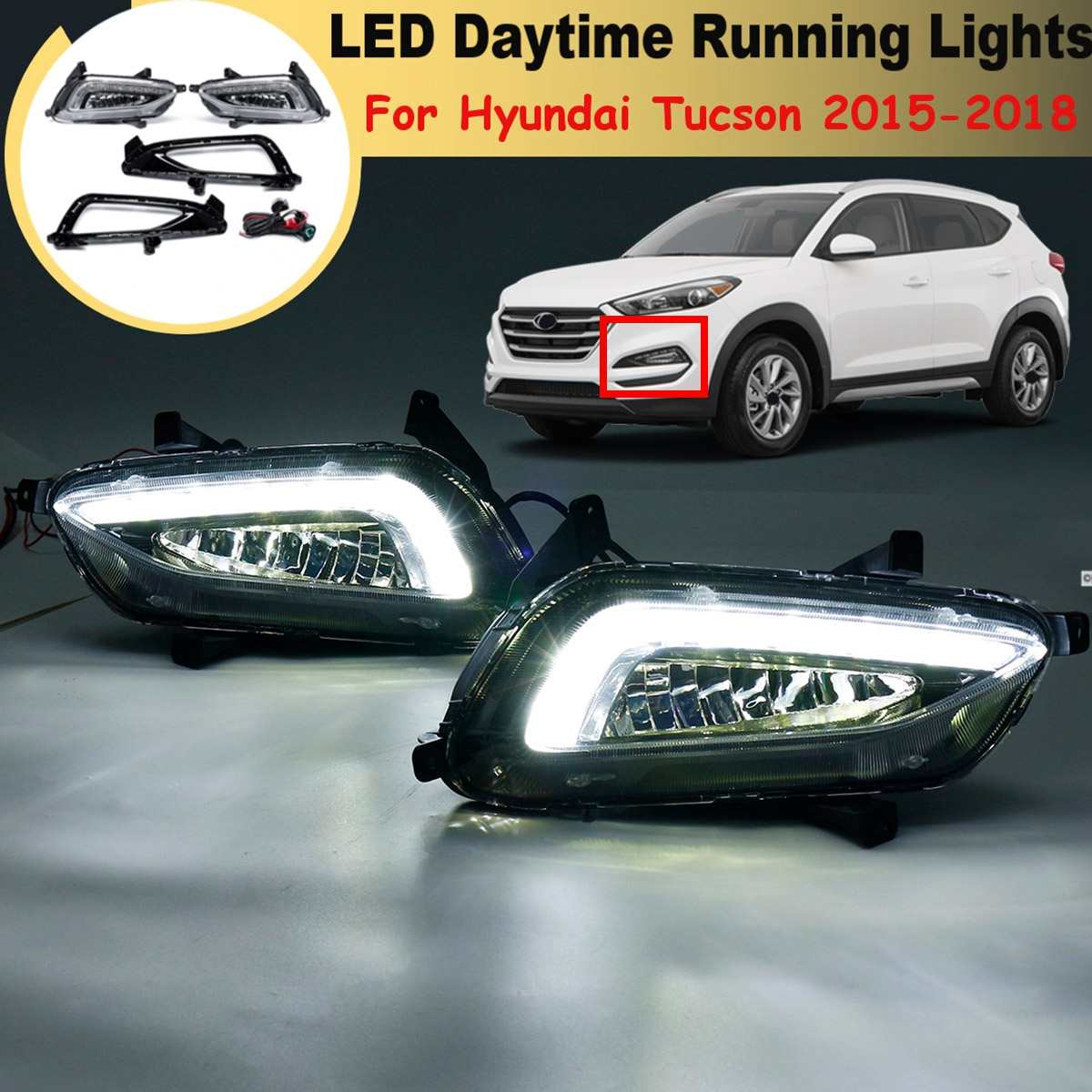 White Led Drl For Hyundai Tucson 2015 2016 2017 2018 Daytime Running Lights Daylight 12V Fog Lamp Cover Car Styling Accessories