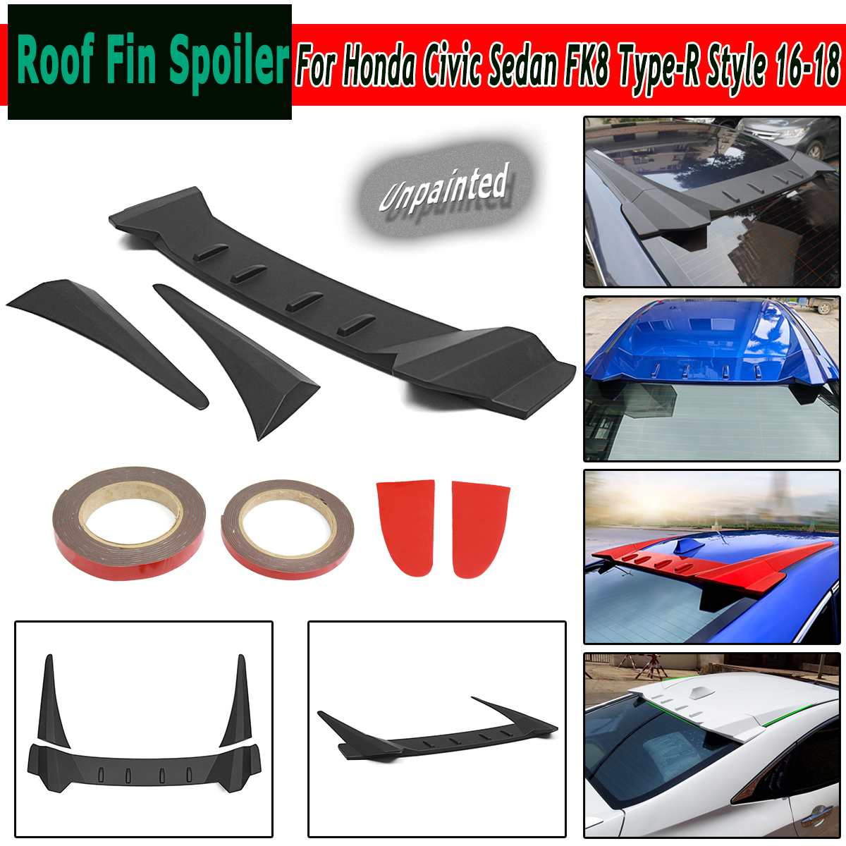 ABS Roof Fin Rear Roof Lip Spoiler Wing For Honda for Civic Sedan FK8 Type-R Style 16-18 Unpainted BlackABS Roof Fin Rear Roof Lip Spoiler Wing For Honda for Civic Sedan FK8 Type-R Style 16-18 Unpainted Black