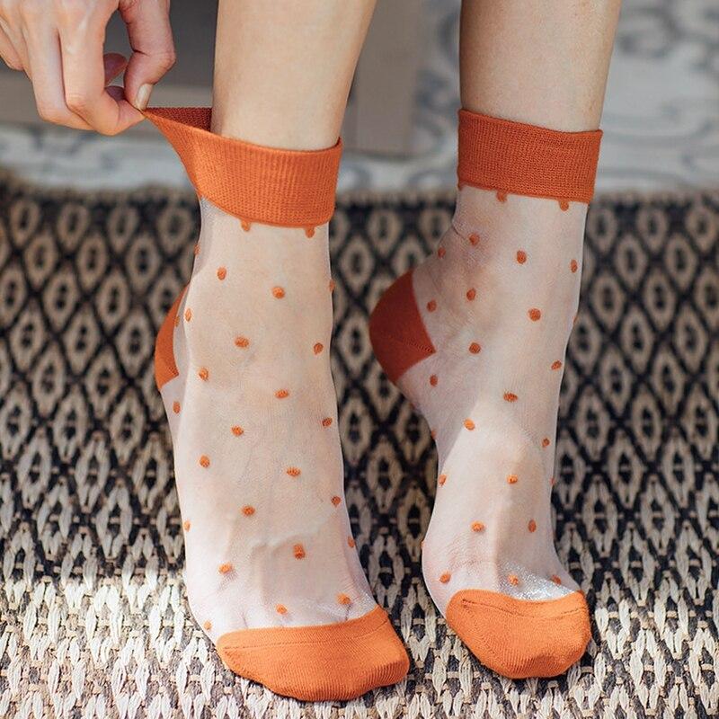 Retro Color Dots Fashion Women   Socks   Spring Summer Thin Colorful Polka Dots   Socks   High Quality Transparent Silk Comfort   Socks