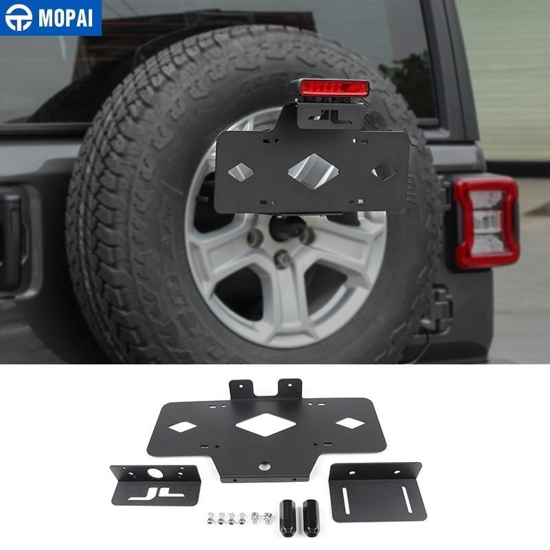 Support de plaque d'immatriculation MOPAI pour Jeep Wrangler JL 2018 + kit de support de plaque d'immatriculation de pneu de rechange arrière de voiture en métal accessoires de voiture