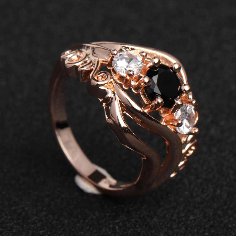 1PC ฝังแหวนดอกไม้ Hollow ของขวัญวาเลนไทน์ Zircon สีดำ Rhinestone Rose Gold งานแต่งงานเจ้าสาวขนาด 6 7 8 9 10
