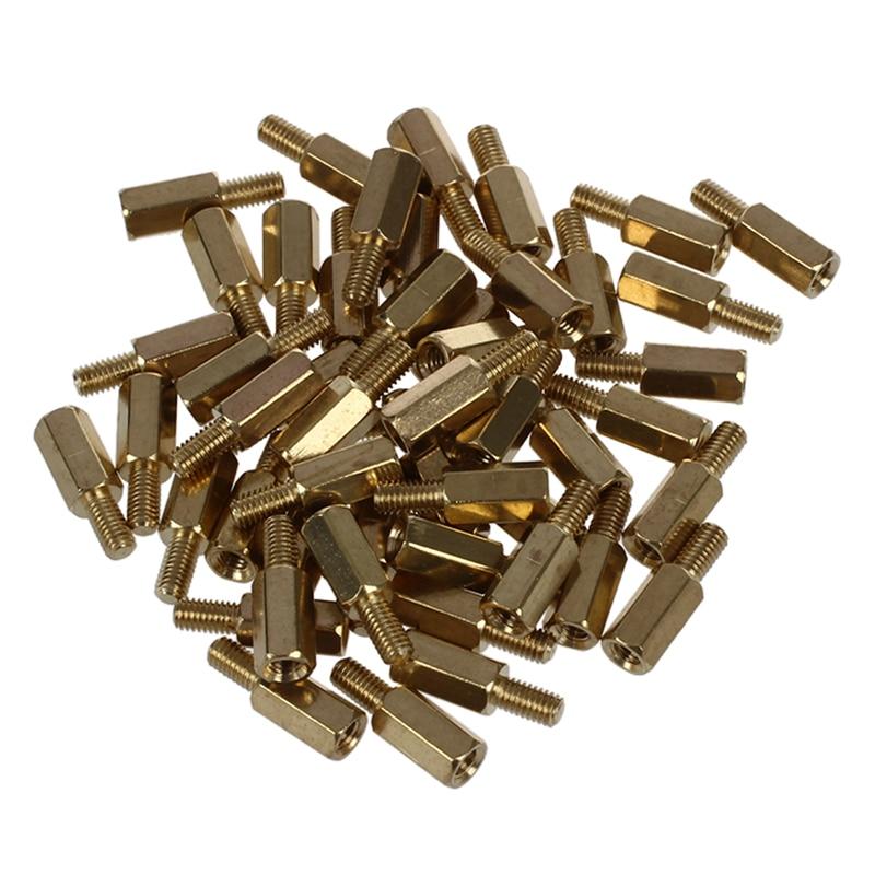 50 Pcs Brass Screw Thread PCB Stand-off Spacer M3 Male X M3 Female 6mm