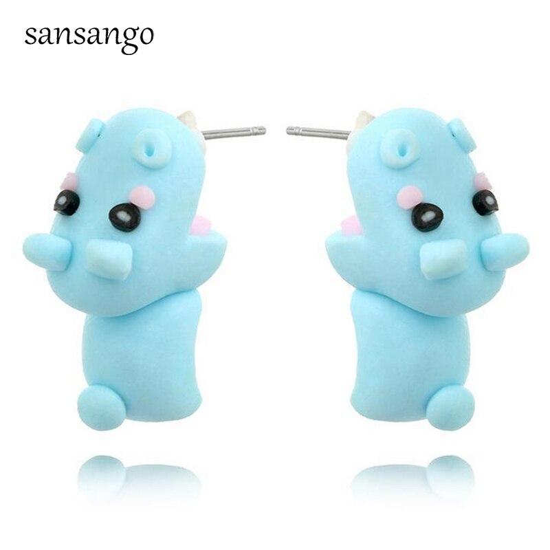 Girls Hippopotamus Colorful Ear Studs 925 Sterling Silver