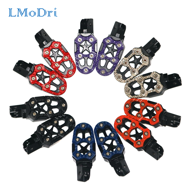 LMoDri 2PCS/PAIR Free Shipping Motorcycle Foot Rest Off-road Motorbike Motorcross Foot Pegs Pedals Universal Modification Parts