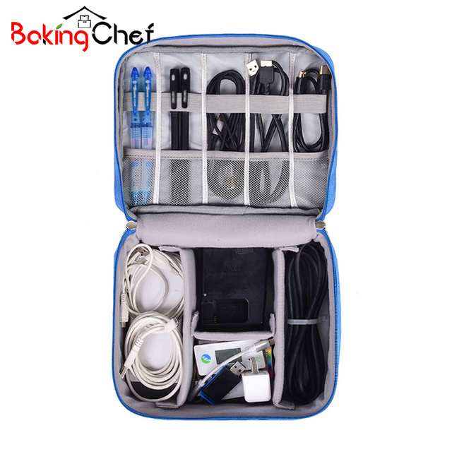 BAKINGCHEF Travel Digital Storage Bag Earphone Cables USB Digital Charging Gadgets Container Portable Zipper Pouch Accessories