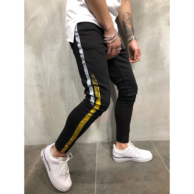 Mens Side Stripe Skinny Black Denim   Jeans   Hip Hop Streetwear Plus Size Slim Cotton   Jeans   Men Elasticity Skinny   Jeans