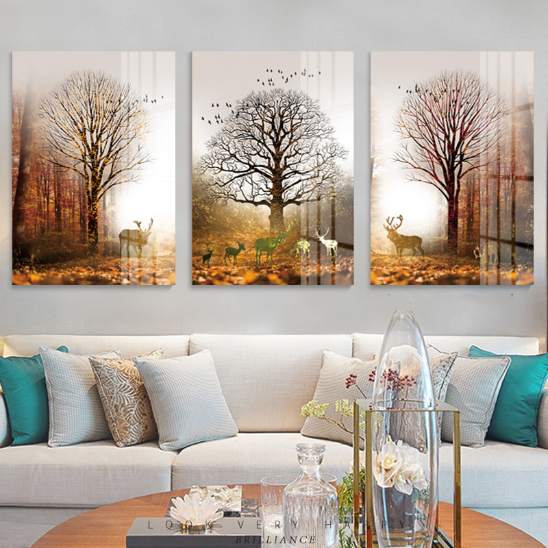 Modern home wall Art Decoration Frameless Abstract Canvas poster printing 3 Panel Forest Deer ainting Picture Home Decoration in Painting Calligraphy from Home Garden