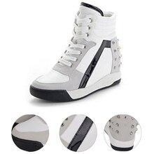 Women Casual Sneakers Sports Comfort Rivet  Wedge Heel Platform High Top Lace Up Exercise Shoes(39,black) цены онлайн