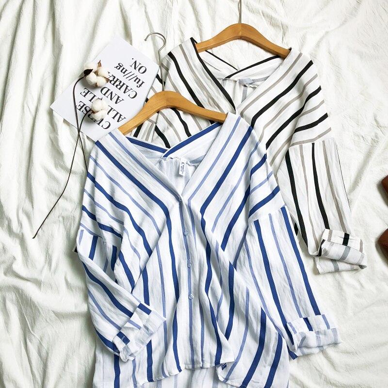 Off Shoulder V Neck Stripe Print Women   Blouse     Shirts   Long Sleeve For Summer Spring