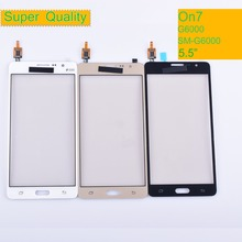 50Pcs/lot For Samsung Galaxy On7 G6000 SM-G6000 Touch Screen Panel Sensor Digitizer Glass Touchscreen NO LCD black white gold