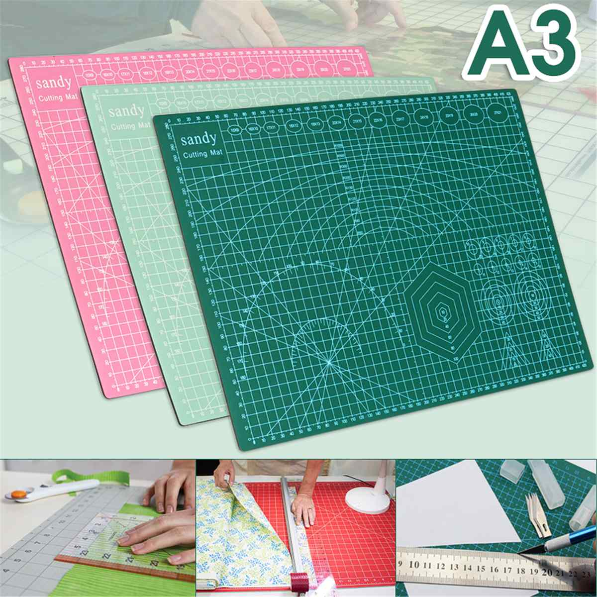A3 Grid Lines Cutting Craft Mat Board Self Healing Non Slip Printed Scale Plate Knife Quality Cutting Scrapbooking Office Rated A3 Grid Lines Cutting Craft Mat Board Self Healing Non Slip Printed Scale Plate Knife Quality Cutting Scrapbooking Office Rated
